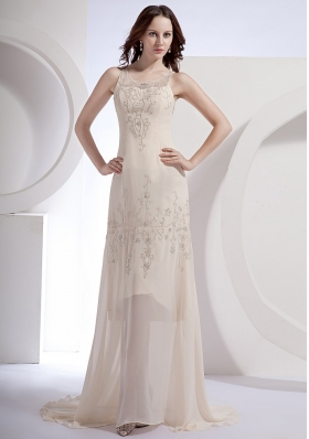 Champagne Beading Prom Gown Scoop Chiffon Brush Train