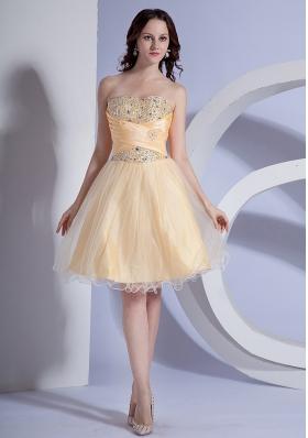 Light Yellow Prom Gown Beading Taffeta and Organza