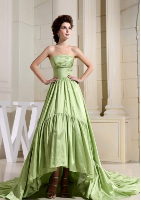 Yellow Green Prom Celebrity Dress High-Low Style