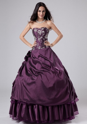 Dark Purple Ruffled Embroidery A-line Quinceanera Dresses