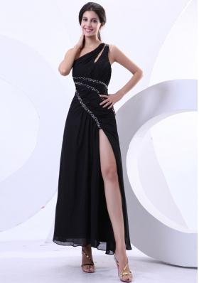 High Slit One Shoulder Prom Dress Ankle-length