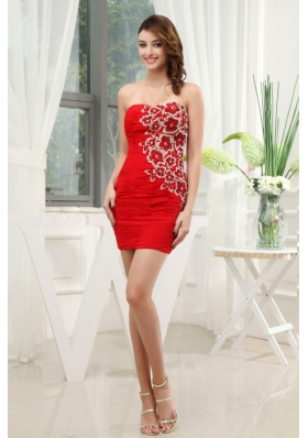 Appliques and Ruching Prom Dress Mini-length