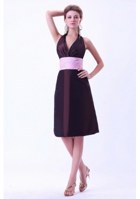 Halter Brown 2013 Bridesmaid Dresses Pink Belt