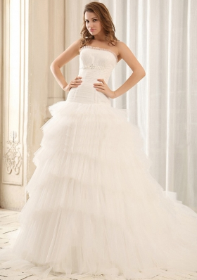 Popular Ruffled Layers Tulle Appliques Wedding Dress