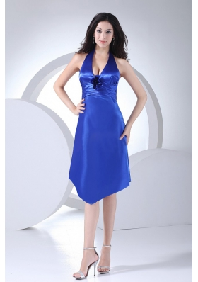 Royal Blue Halter Bridesmaid Dress Taffeta Knee-length