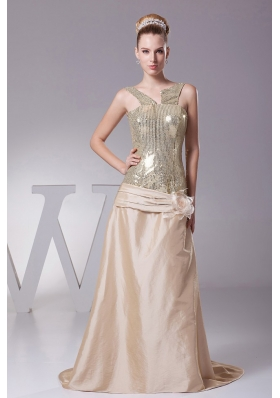 Champagne Prom Gown Hand Made Flower Sequin and Satin