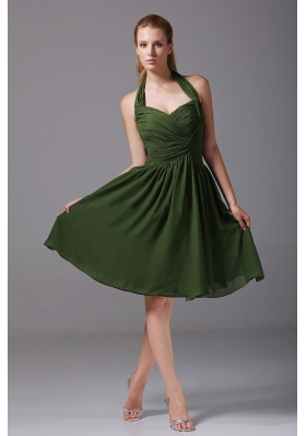 Olive Green Halter Chiffon Knee-length Bridesmaid Dress