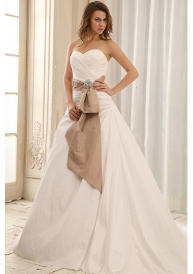 Sweetheart Wedding Dress Sash and Ruched Taffeta