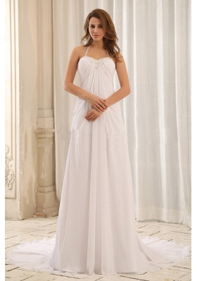 Halter Wedding Gown Empire Appliques and Ruch