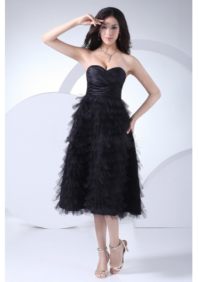 Prom Gown Ruffled Layers Tea-length Black Taffeta and Tulle
