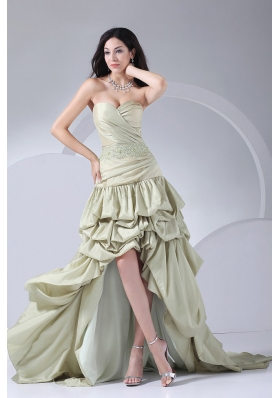 High-low Bridal Gown Beading and Pick-ups Sweetheart