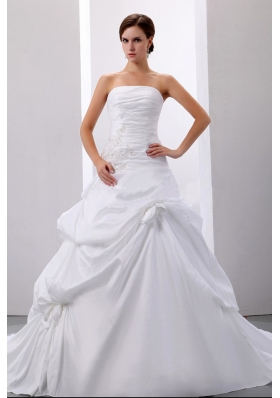 Taffeta Wedding Dress Strapless Pick-ups and Appliques