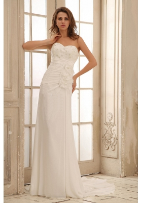 Sweetheart Beach Wedding Dress Floral Ruched Appliques