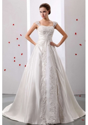 Straps Lace Wedding Dress With Ruched Bodice On Sale