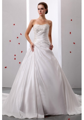 Princess Appliques and Ruch Wedding Gowns With Taffeta
