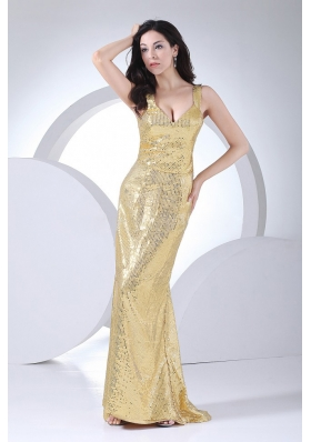 Gold Paillette Over Skirt V-neck 2013 Prom Dress