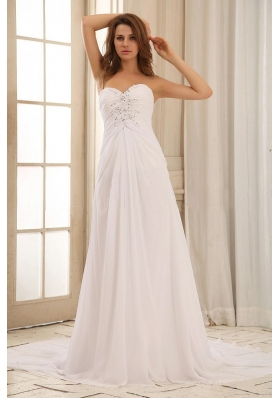 Wedding Dress Sweetheart Beaded Decorate and Ruch