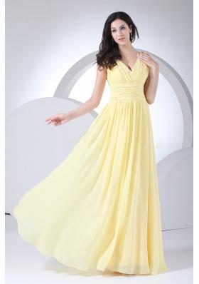 Light Yellow Prom Dress Chiffon Ruching V-neck