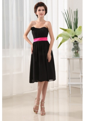 Bridesmaid Dress Ribbons Chiffon Black Tea-length