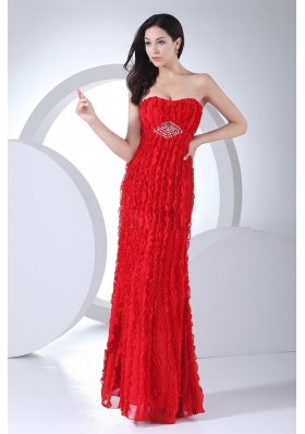 Red Beading Ankle-length Chiffon Graduation Dress