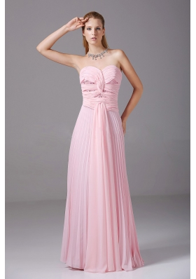 Pink Chiffon Beading Prom Dress Ruching