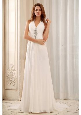 Halter Empire Beaded Weding Dress With Chiffon