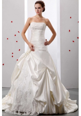 Applqiues and Ruch Wedding Gowns With Lace and Taffeta