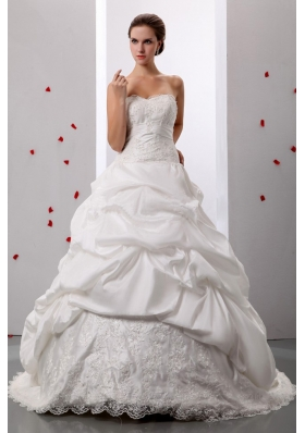 Pick-ups Sweetheart Wedding Gowns With Lace and Ruch