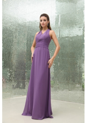Chiffon Purple V-neck Bridesmaid Dress Ruched Floor-length