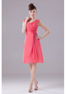 Watermelon Bridesmaid Dress Knee-length Straps Chiffon