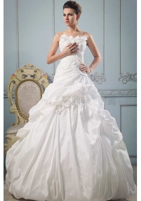 Strapless Wedding Gowns With Hand Made Flowers and Ruch
