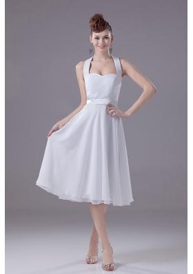 White Halter Bridesmaid Dress Empire Chiffon Tea-length