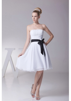 Black Ribbons Chiffon Knee-length Bridesmaid Dress
