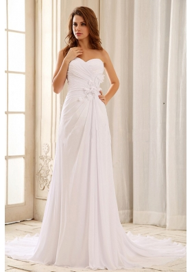 Strapless Wedding Dress With Appliques and Ruch