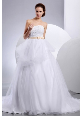 Strapless Wedding Gowns Appliques and Sash In Wedding Party