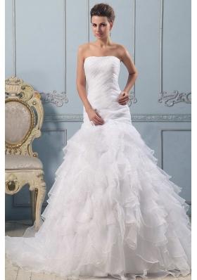 Strapless Pretty Wedding Gowns Ruffled Layered Ruchings