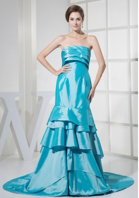Aqua Blue Ruffled Layers Prom Dress For Formal Evening