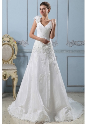 V-neck A-line 2013 Wedding Dress Lace With Ruched Bodice