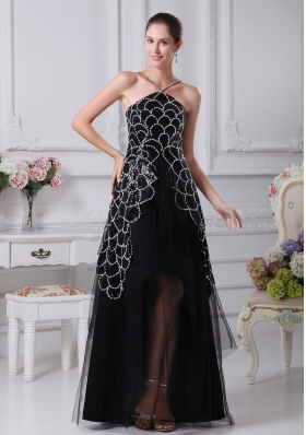 V-neck Black Beaded Decorate Shoulder Tulle Mother Dress