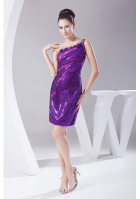 Purple Sequin Prom Dress Beading One Shoulder Mini-length