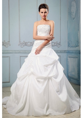 A-line Wedding Dress With Pick-ups and Appliques