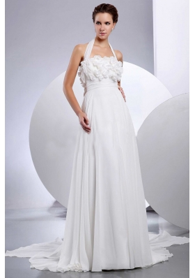 Halter Wedding Dress With Hand Made Flowers Appliques