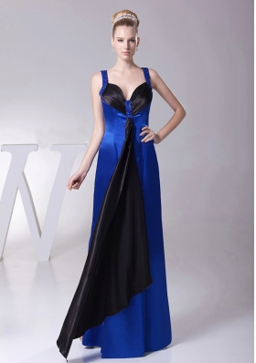 Bridesmaid Dress Satin Straps in Blue Beaded