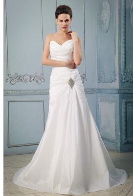 Appliques and Ruch Princess Sweetheart Wedding Dress