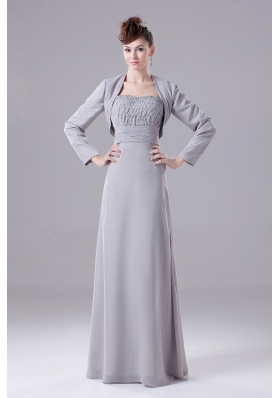 Grey Bridesmaid Dress with Jacket Beaded Decorate Chiffon
