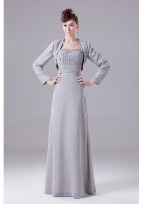 Grey Bridesmaid Dress with Jacket Beaded Decorate Chiffon
