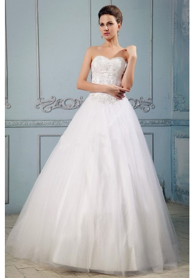 Sweetheart Appliques Wedding Dress With Clasp Handle Back