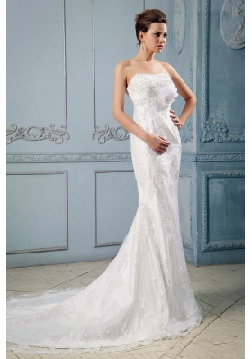 Mermaid Hand Made Flower Lace Court Train Wedding Gown