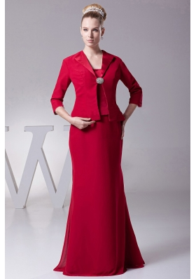 Wine Red Straps Mother Of The Bride Dress with Jacket