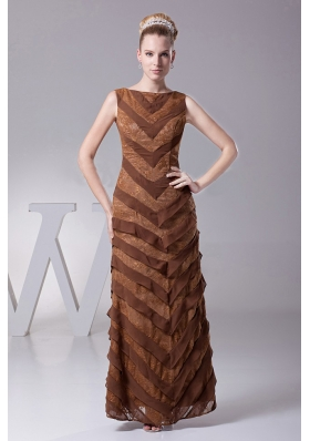 Column Designer Mother Of The Bride Dress Bateau Brown